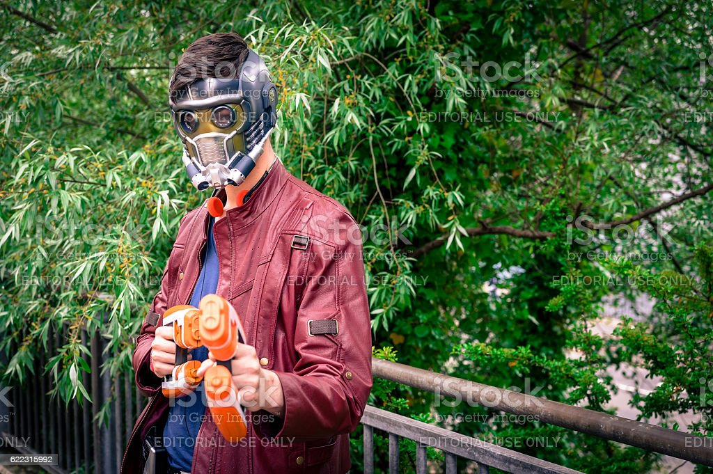 Male cosplayer poses at Yorkshire Cosplay Convention stock photo