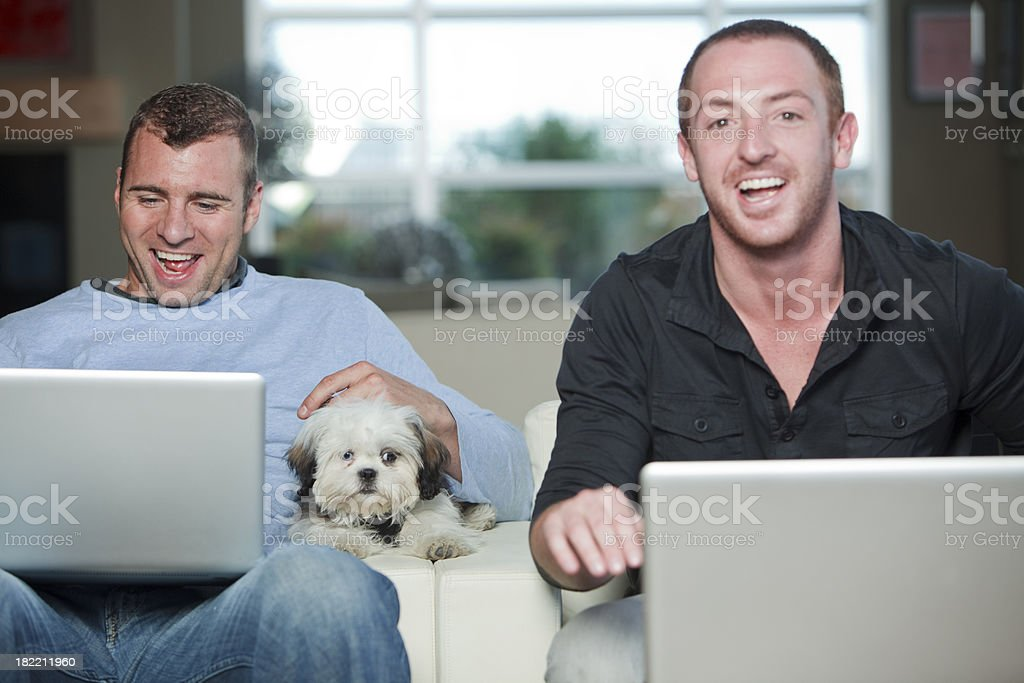 Male couple. Plus dog royalty-free stock photo