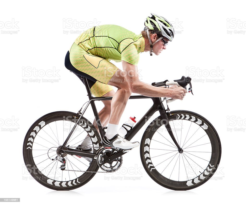 Male cyclist on road bike with white background stock photo