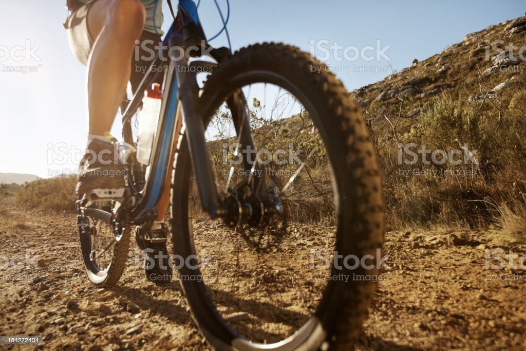 Male cyclist riding a bike royalty-free stock photo