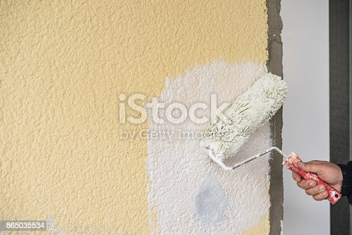 835790922istockphoto Male decorator painting wall with paint roller 865035534