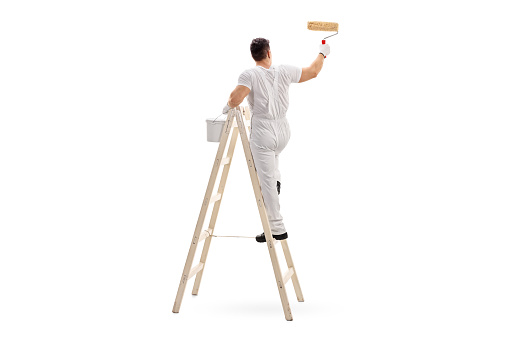 Young male decorator painting with a paint roller climbed up a ladder isolated on white background