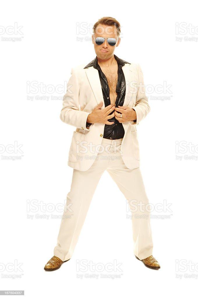 Mad disco Tänzerin im weißen Anzug und Schlangen-Stiefel – Foto