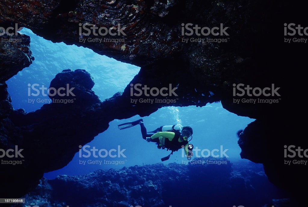 Male Diver in Underwater Cave stock photo