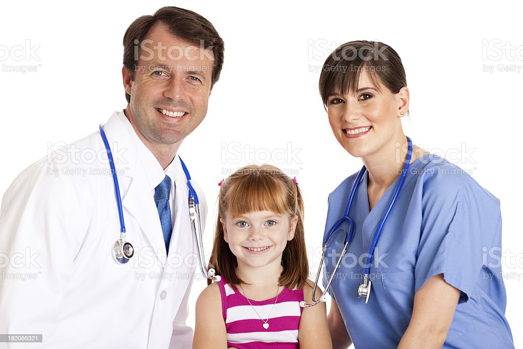 Male Doctor and Female Nurse with Happy Little Girl royalty-free stock photo