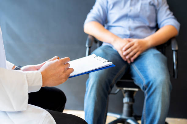 male doctor and prostate cancer patient are discussing about prostate cancer test report. diagnostic, prevention of men diseases, healthcare, medical service, consultation, healthy lifestyle concept. - prostate exam stock pictures, royalty-free photos & images