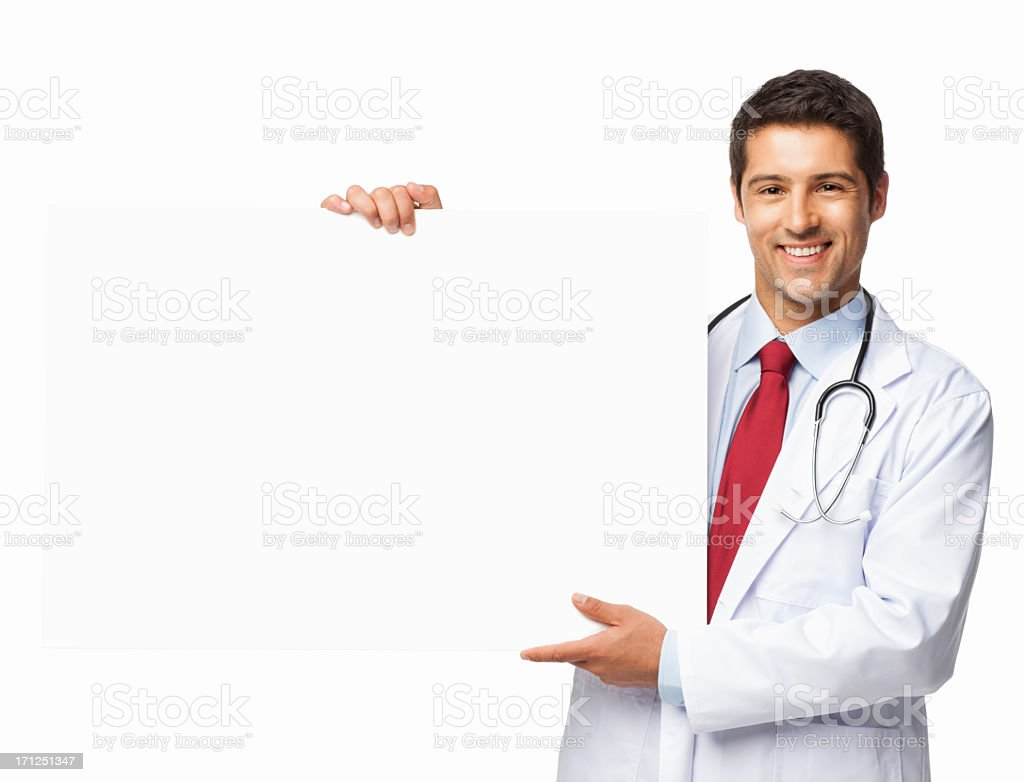 Male Doctor Holding a Blank Sign - Isolated stock photo