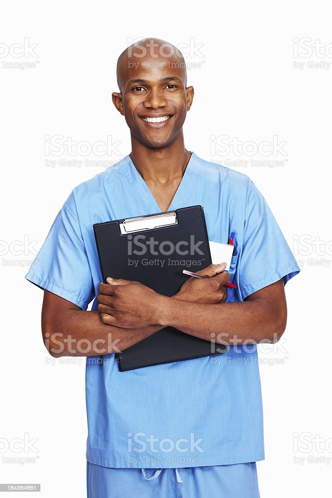 Male doctor holding reports royalty-free stock photo