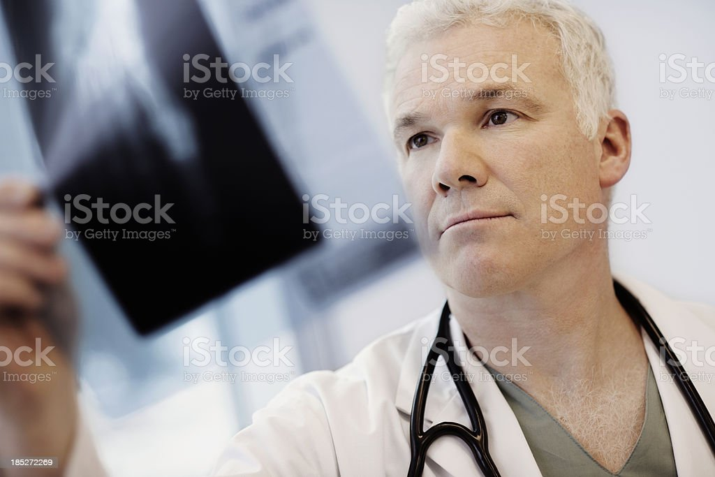 Male doctor looking at an x-ray image stock photo