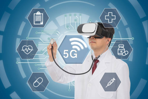 Male doctor wearing virtual reality glasses. 5G Medical Concept. Computer Graphic. stock photo