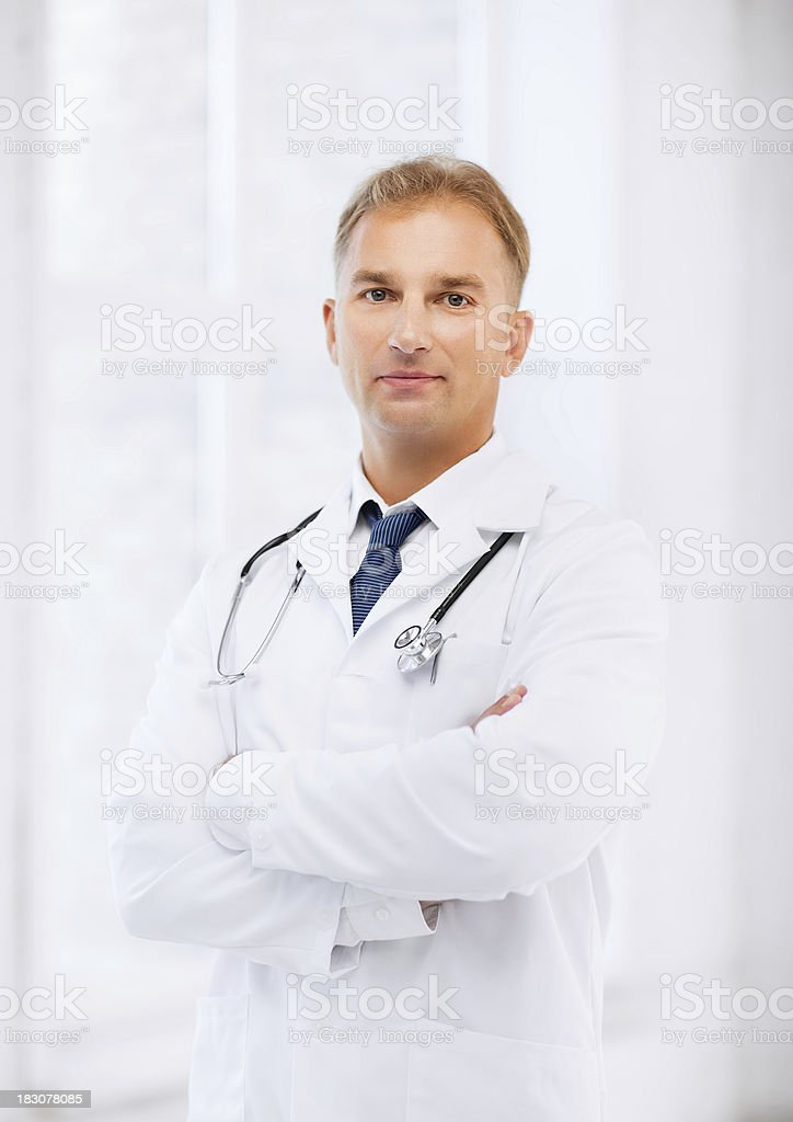 male doctor with stethoscope royalty-free stock photo