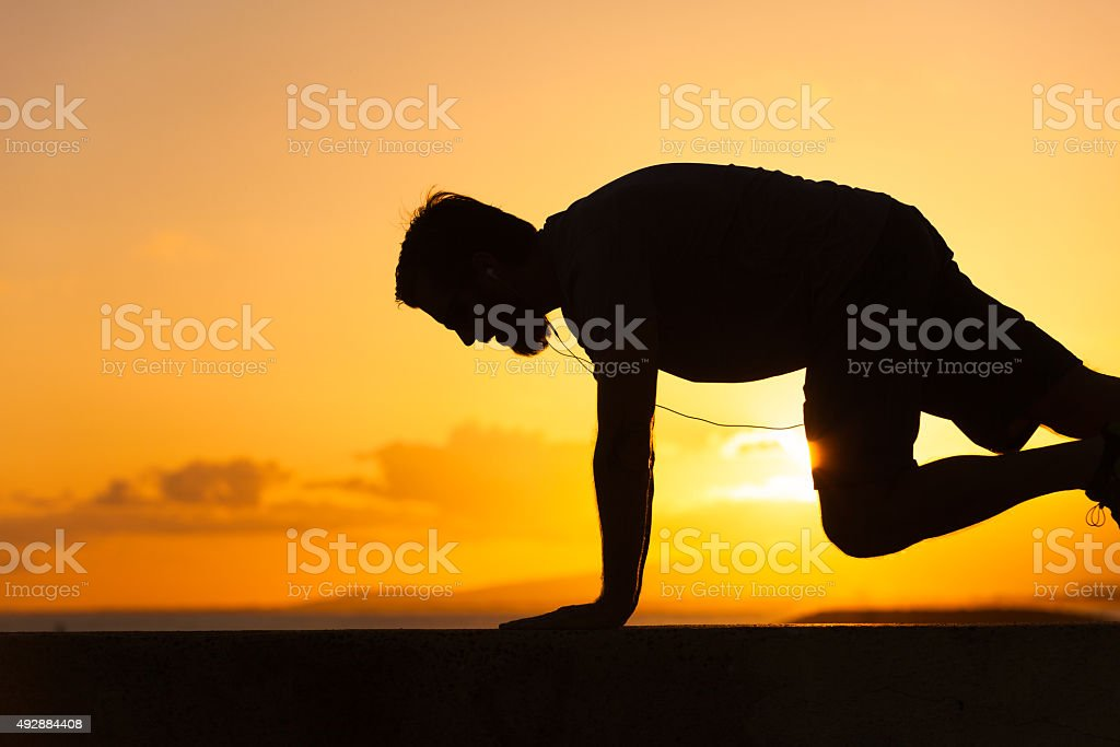Male doing core exercise stock photo