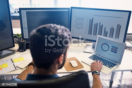 istock Male doing estimation on screen 817442226