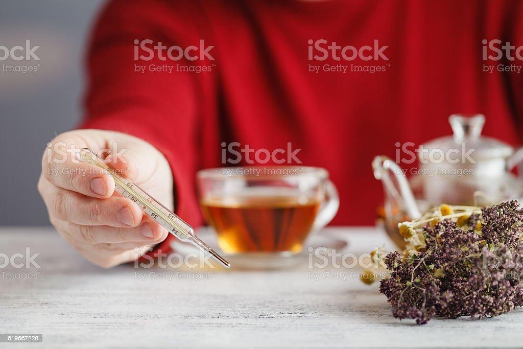 Male drink herbal tea stock photo