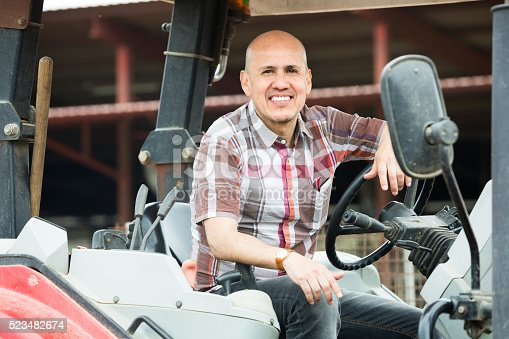 istock male driver operating  tractor 523482674