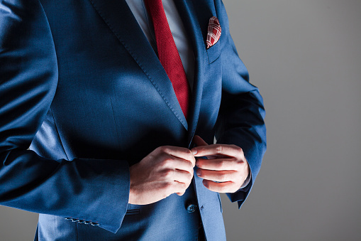 Male Elegance Businessman Wearing Navy Blue Suit Stock Photo - Download Image Now