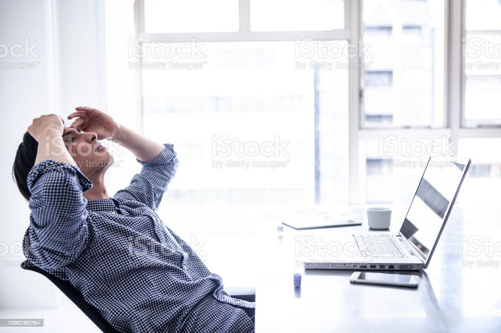 Male employees are eyeing tired eyes