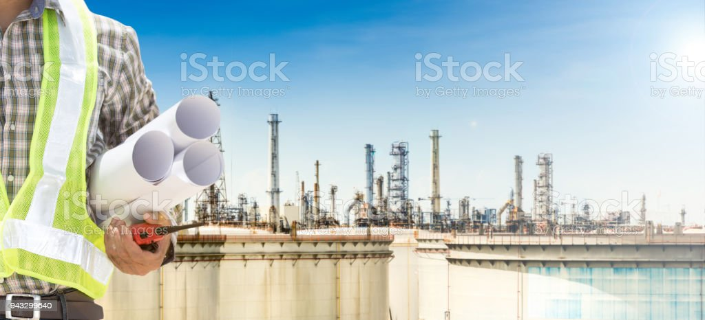 Male engineer and oil refineries.