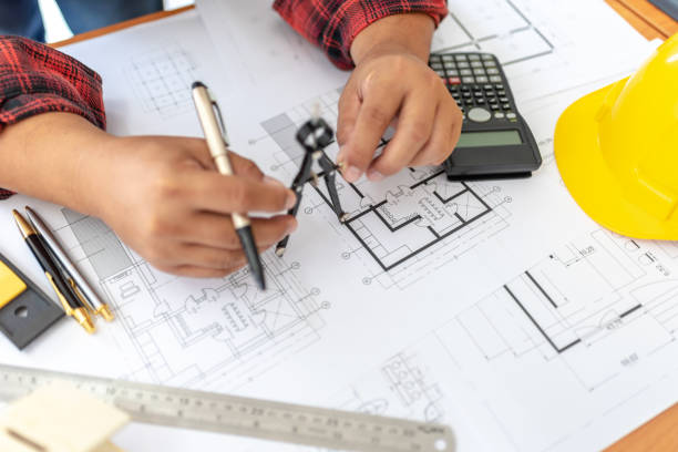 Male engineer working on new ideas Overweight Indian one person. stock photo