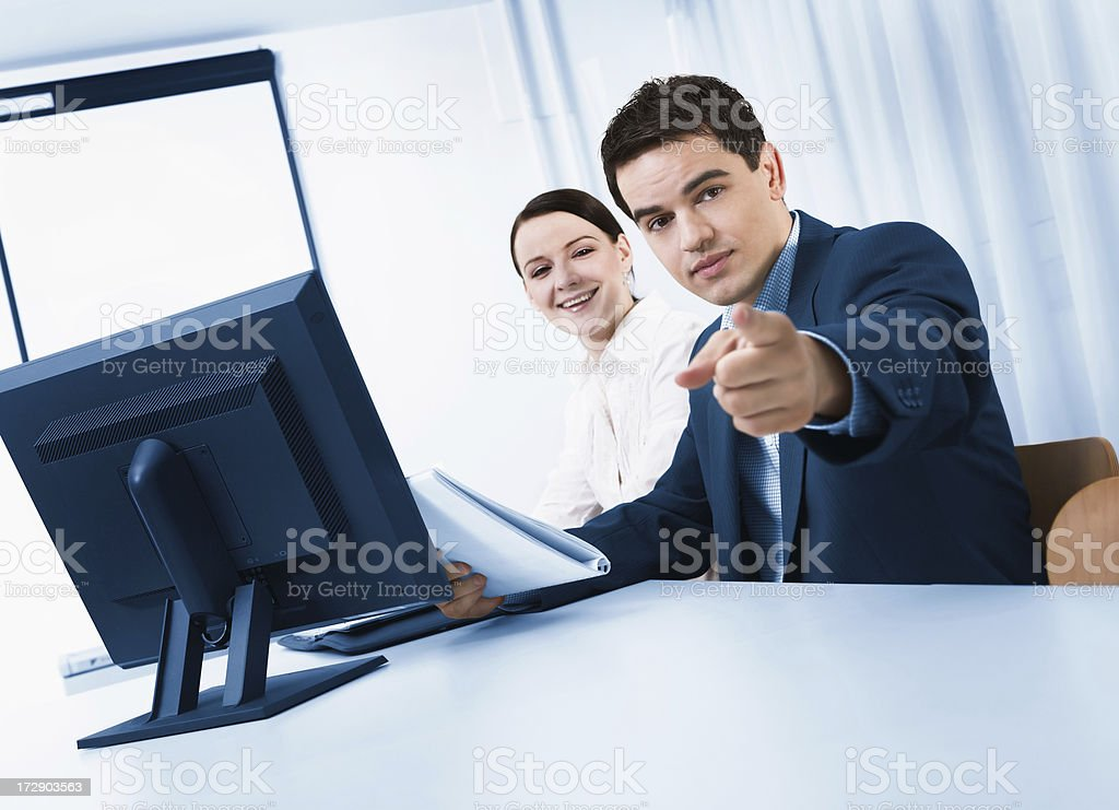Male executive and his assistant stock photo