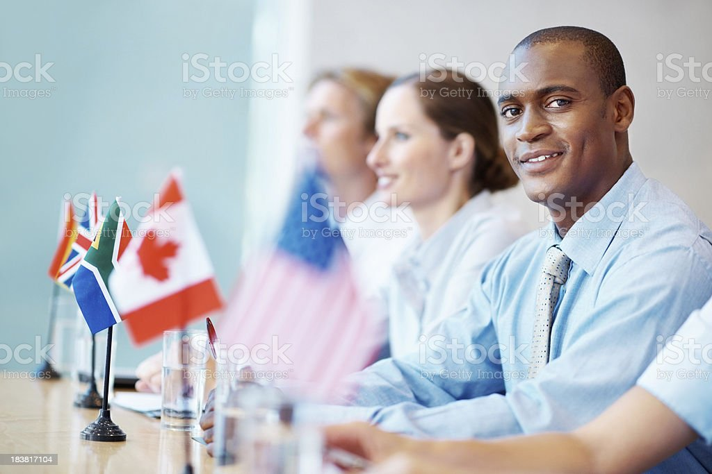Male executive attending corporate seminar royalty-free stock photo