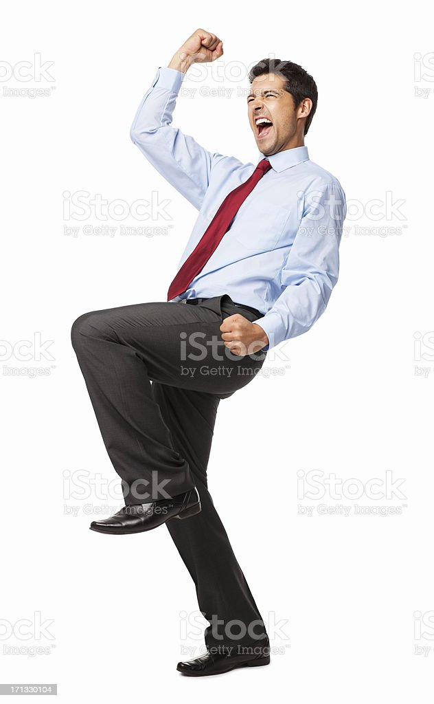 Male Executive Celebrating Success - Isolated stock photo