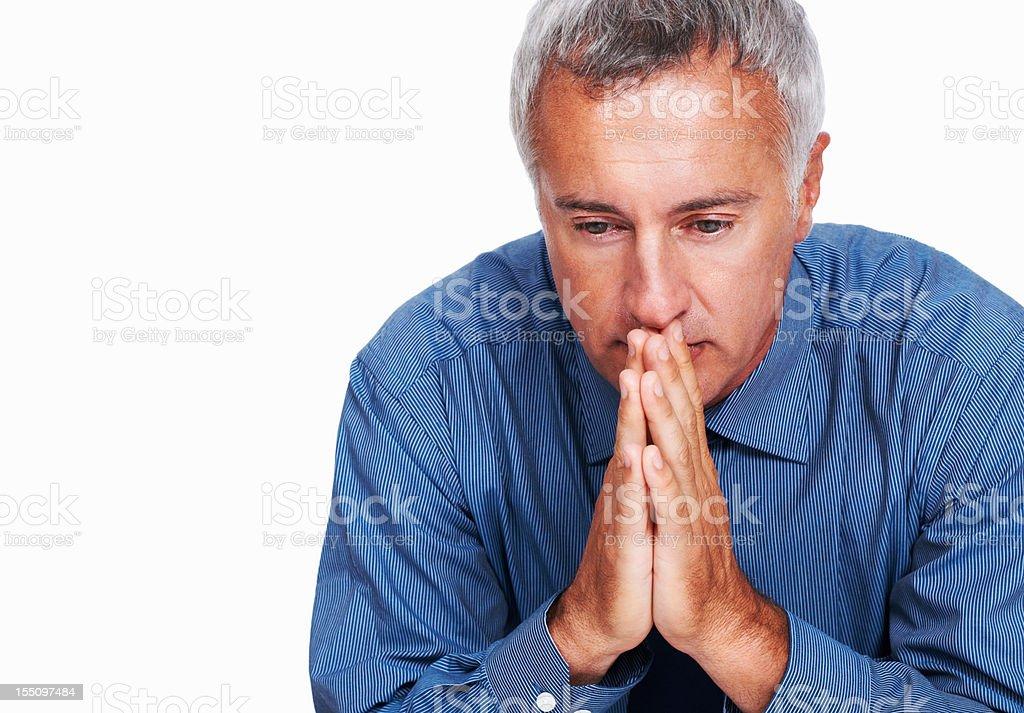 Male executive contemplating stock photo