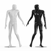 Male faceless mannequins black and white look at each other 3d rendering