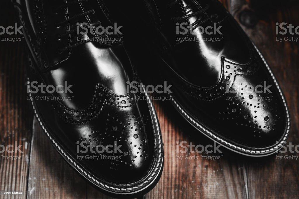 male Fashion black shoes stock photo