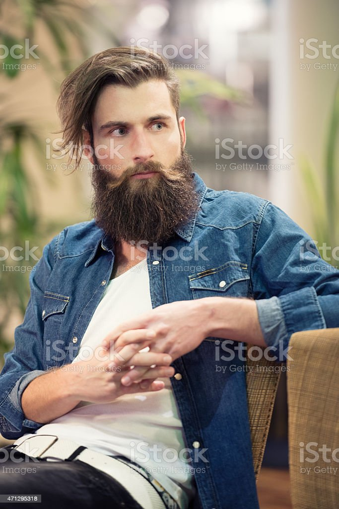 Male Fashion, Man with a Beard stock photo
