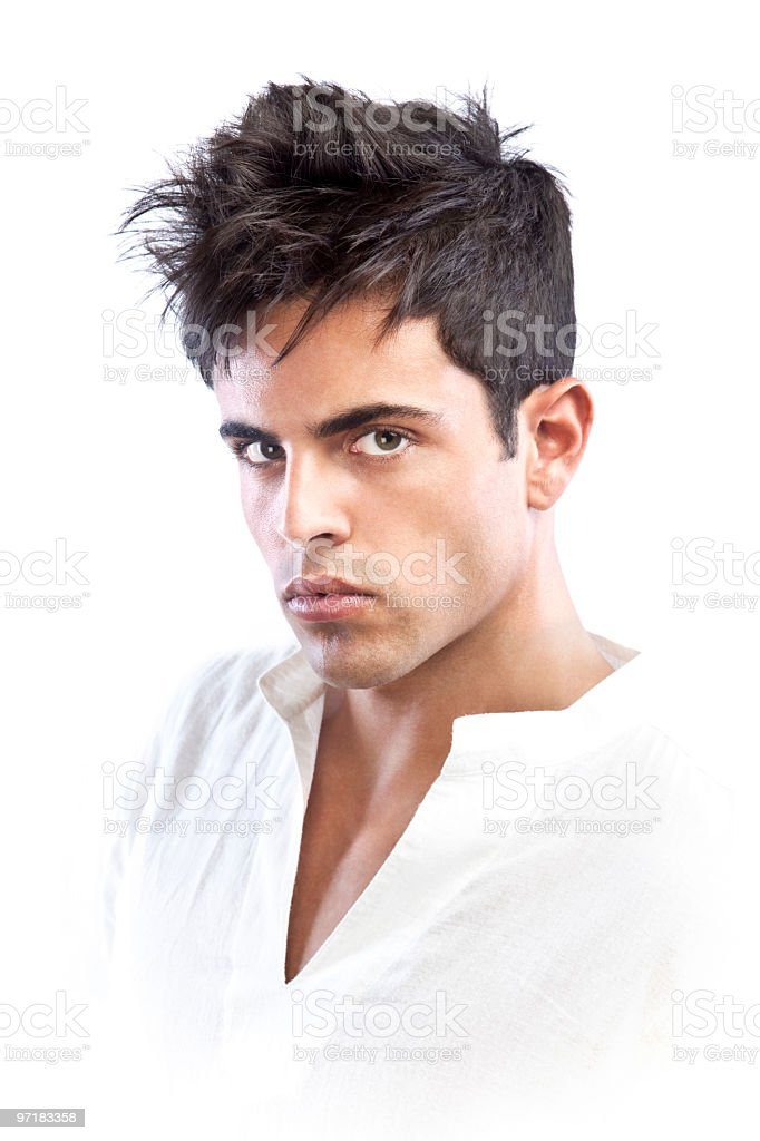 A male fashion model from the chest up stock photo