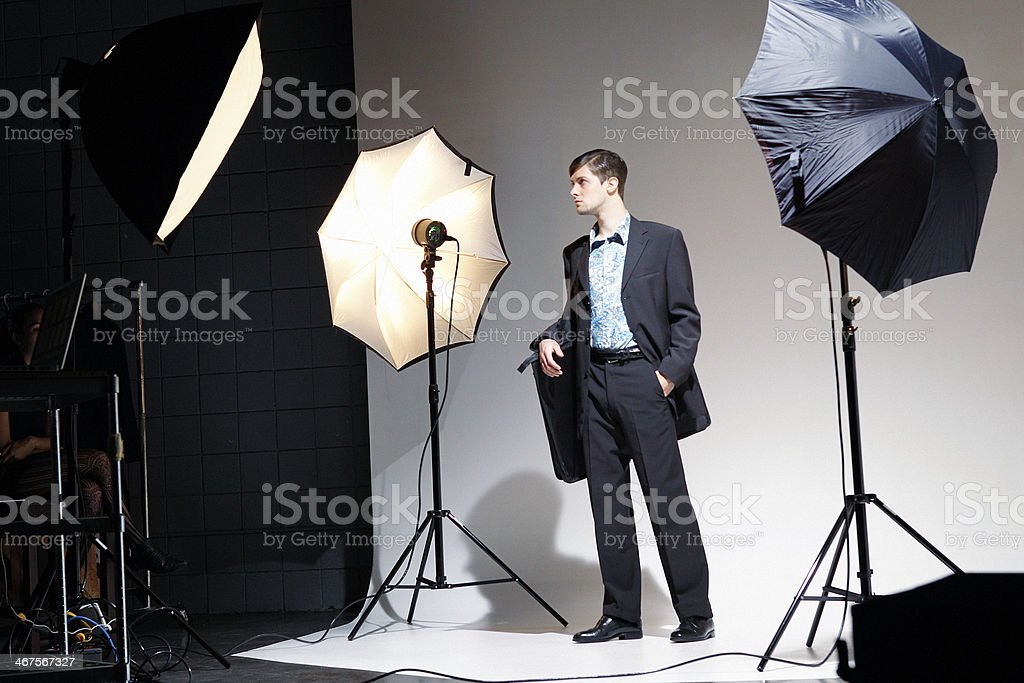 Male Fashion Model in Photo Studio royalty-free stock photo