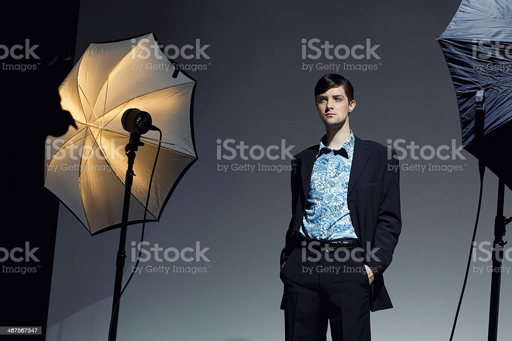 Male Fashion Model in Photo Studio stock photo