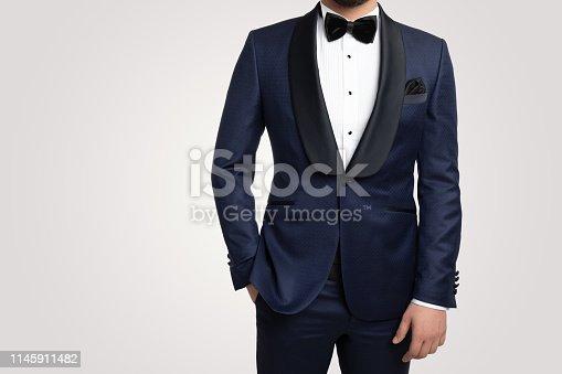 Male fashion model in tuxedo