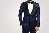 istock Male fashion model in tuxedo 1145911482