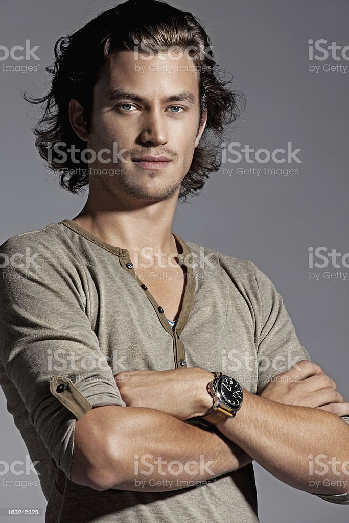 male fashion model posing stock photo