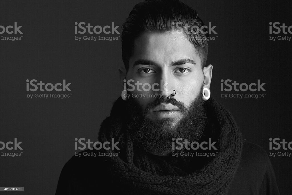Male fashion model with beard stock photo