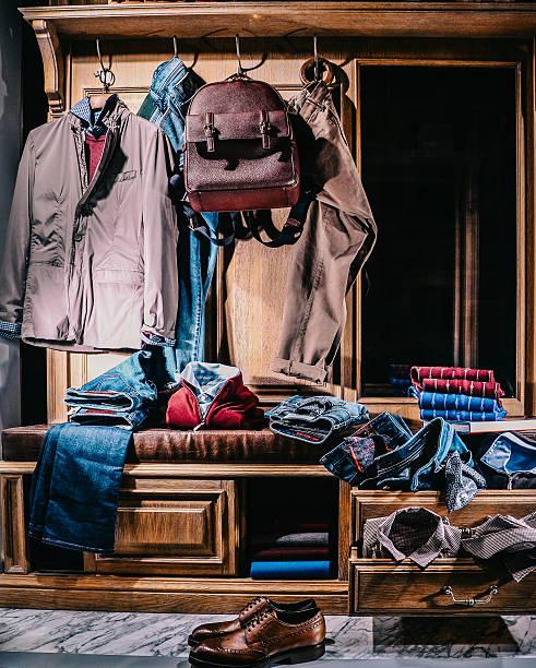 Male fashion stylish casual clothes in home wardrobe - foto de acervo