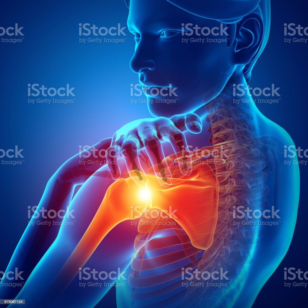 Male Feeling the Shoulder Pain stock photo