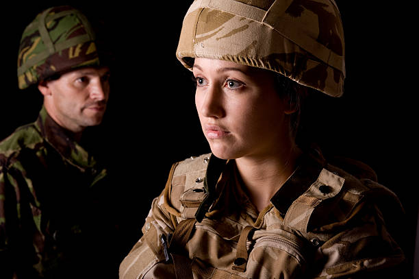 male & female british soldiers - uk military stock photos and pictures