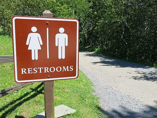 Male Female National Park Public Restroom Bathroom Marker Sign Post stock photo