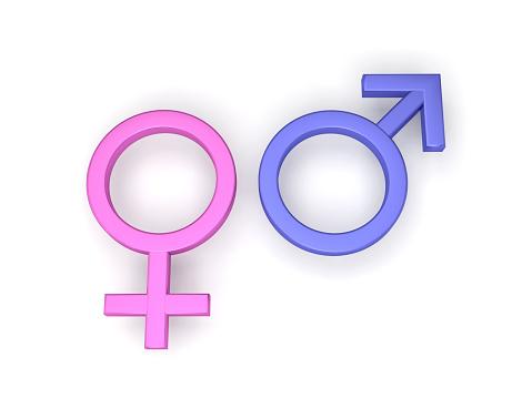 male female symbols 3D