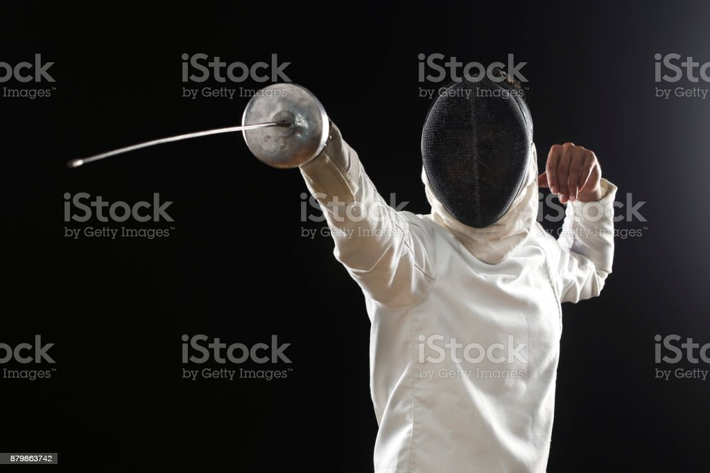 Male fencer stock photo