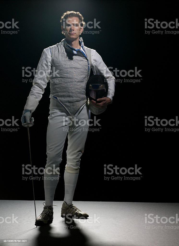 Male fencer, portrait royalty-free stock photo