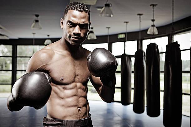 Male fighter in fighting stance in a dojo stock photo