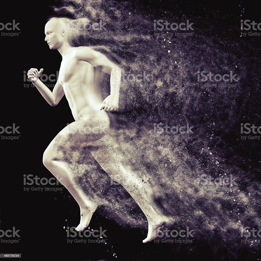 3D male figure running with speed special effect stock photo