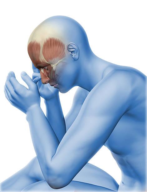 3 d männliche figur mit kopf schmerzen - mit muskelkater trainieren stock-fotos und bilder