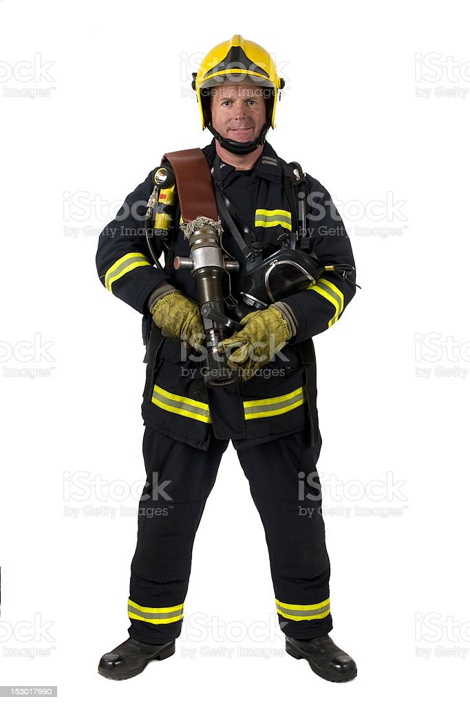 Male fire fighter stock photo