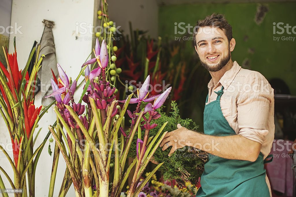 Male florist putting plants up royalty-free stock photo