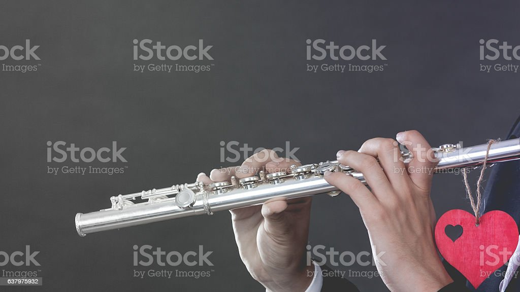 Male Flutist With Flute And Heart Love Melody Stock Photo - Download